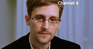 A hand out still image made available yesterday by  Channel 4 and which  was taken from a two-minute video broadcast on Christmas Day showing   Edward Snowden on the channel's alternative Christmas message. Photograph: EPA