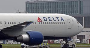 Delta Air Lines retreated 3 per cent to $27.05. The airline said yesterday it would honour tickets sold at incorrect prices on its website and other booking channels after customers snapped up bargains such as round trips to Hawaii for $6.90. Photograph: Eric Luke.