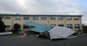 A section of the roof which was blown off the Colaiste Cois Life School on Castle Road, Lucan, Dublin yesterday. Photograph: Arthur Carron/Collins