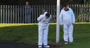 Members of the Garda forensics team on Thursday at the scene of the fatal stabbing at Shanganagh in Shankill, Co Dublin. Photograph: Nick Bradshaw.