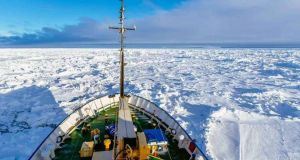 An image of the Akademik Shokalskiy today which is trapped in ice in the Antarctic. Photograph: EPA