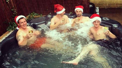 Left to right are Daniel McQuaid, Liam Costello, Neil McAdam and Ryan McAdam, living it up in  Sydney, Australia, on Christmas Day.
