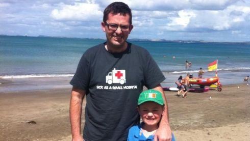 Ciaran Lowney and son Sean at Mairangi Bay, Auckland, New Zealand.