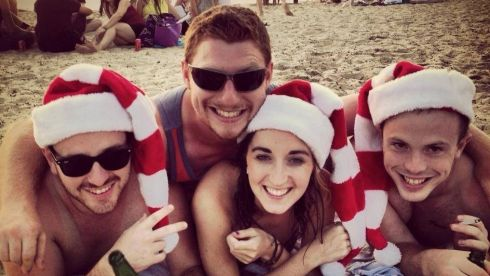 On St Kilda Beach in Melbourne, Australia are Richie Clarke, Sarah MacClancy, Paddy Greene and Vincent Heeney.