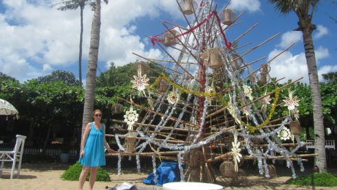 "Margaret Joyce spending Christmas in Sanur, Bali with her husband Eamonn McMahon. The couple have lived in Singapore since last year when Eamon took up an architectural job. ""While we miss everyone and the whole atmosphere of Christmas at home here is idyllic too; gorgeous clean water to swim in and excellent food and accommodation. There are loads of very old ornate Hindu temples and rice fields to see too which means there is something to do when one tires of the beach."""