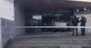 Gardai are investigating a crash in Co Donegal last night on which a vehicle  hit a dole office in Buncrana. Photograph: Bashir Al-Bashami via Twitter