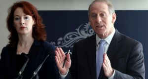 Former US diplomat Richard Haass and Harvard professor Meghan O'Sullivan, speak to the media at the Stormont Hotel in Belfast on their return to the North to resume talks. Photograph: PA
