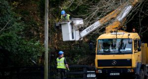 ESB crew working on damaged lines in Glenealy, Co Wicklow. Photograph: Cyril Byrne/The Irish Times