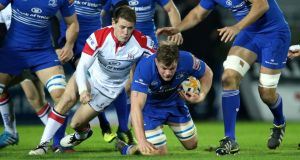 Leinster's Jordi Murphy is tackled by Ulster's Craig Gilroy in Saturday night's game. Photograph: Billy Stickland/Inpho