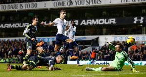 Tottenham Hotspur's Erik Lamela puts his shot wide but Tottenham were comfortable winners against Stoke. Photograph: Darren Staples/Reuters