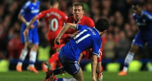 Leiva Lucas and   Oscar get into a scrape late in the game at Stamford Bridge. Photograph: Nick Potts/PA Wire.