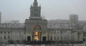 In this photo made by a public camera the flash of an explosion illuminates the entrance to Volgograd railway station yesterday. Photograph: AP Photo/ Associated Press Television News