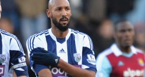 West Brom striker Nicolas Anelka faces a potential minimum five-match ban for his quenelle gesture, made during West Bromwich Albion's 3-3 draw with West Ham on Saturday. Photograph: Christopher Lee/Getty Images