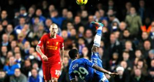 Chelsea's Samuel Eto'o performs an overhead kick during yesterday's game at Stamford Bridge.