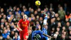 Chelsea's Samuel Eto'o performs an overhead kick during the Premier League clash against  Liverpool at Stamford Bridge.