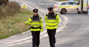 Gardai at the scene of the incident on the Sligo to Strandhill Road in Sligo on Saturday. Photograph: James Connolly