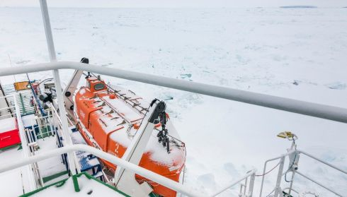 A thin coat of snow covers the deck of the Akademik Shokalskiy. Photograph: Andrew Peacock/Reuters