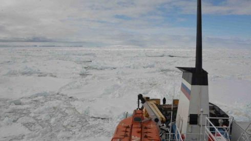 Akin to an oil painting: The roiled mix of ice and sea as it looked from the Akademik Shokalskiy on Christmas Day 2013. Photograph: EPA