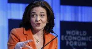 Facebook chief operating officer and 'Lean In' author Sheryl Sandberg. Photograph: Reuters/Pascal Lauener