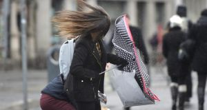 Windy conditions made for hair-raising shopping in Dublin city last weekend. Photograph: Alan Betson/The Irish Times