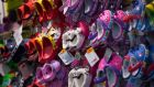 Crocs  shoes are displayed for sale at a store in New York yesterday.  Photograph: Jin Lee/Bloomberg