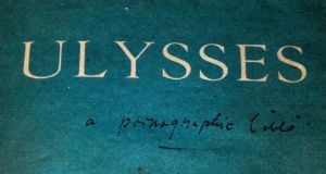 "A copy of Ulysses by James Joyce in which a previous reader has written ""A Pornographic Bible"" under the title. Photograph: Philip Cloherty"