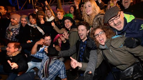 Celebrations at midnight at the Three NYE, New Year's Eve Dublin Concert at College Green, Dublin. Photograph: Dara MacDónaill/The Irish Times            Dara Mac Donaill  Dara MacDonaill