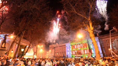 Fireworks at midnight at College Green.   Photograph: Dara MacDónaill/The Irish Times