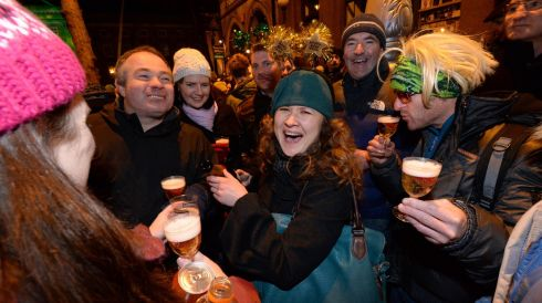 Celebrations at midnight in Dublin to ring in the New Year.  Photograph: Dara MacDónaill/The Irish Times