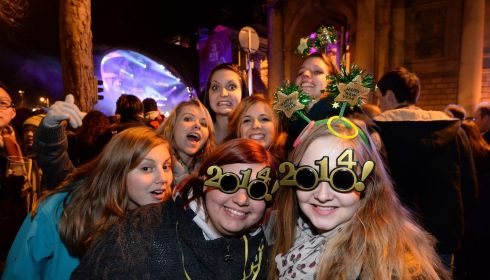 Ringing in the New Year at College Green.  Photograph: Dara MacDónaill/The Irish Times