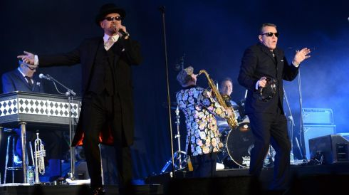 Madness performing at the Three  NYE, New Year's Eve Dublin Countdown Concert at College Green in Dublin.  Photograph: Dara MacDónaill/The Irish Times