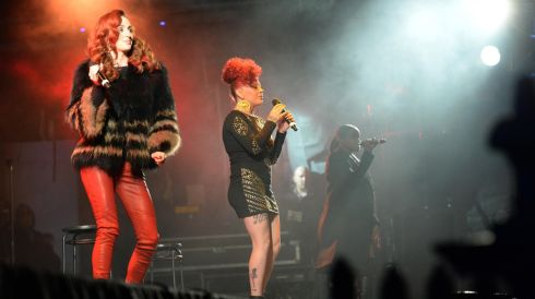MKS perform at the Three  NYE, New Year's Eve Dublin Countdown Concert at College Green.  Photograph: Dara MacDónaill/The Irish Times