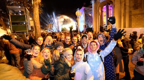 Celebrating the start of 2014 in Dublin.  Photograph: Dara MacDónaill/The Irish Times
