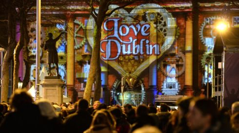 Trinity College lit up last night for the New Year's Eve concert.  Photograph: Dara MacDónaill/The Irish Times
