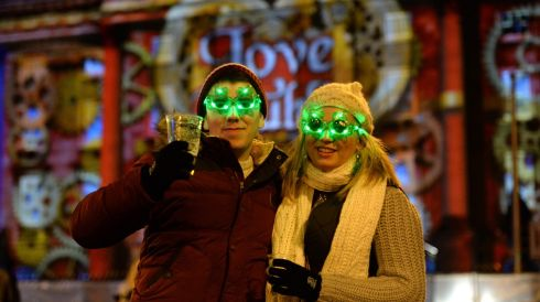 Matt Stone and Zoe Fox greeting the New Year in Dublin.  Photograph: Dara MacDónaill/The Irish Times