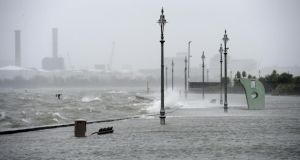 The famed promenade at Clontarf, Dublin, under water today. Photograph: Dara Mac Dónaill/The Irish Times