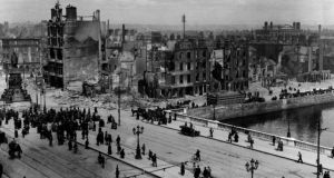 Library filer dated 11/05/1916 of a view of Sackville Street (O'Connell St) and the River Liffey at Eden Quay in Dublin, showing the devastation wrought during the Easter Rising. Celebrations will mark the event's 90th anniversary today. Photograph: PA