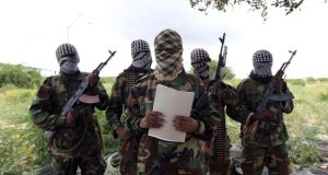 A group of al Shabaab militants pictured in Somalia last October. File Photograph: Feisal Omar/Reuters