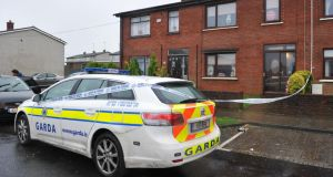 A garda car at the scene of the fatal stabbing in Drogheda's Rathmullen Park. Photograph: Ciara Wilkinson