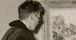 Samuel Beckett looks at Jack B Yeats's painting, The Music, 1946. ©Reserved DACS 2006 on behalf of the Yeats Estate. Photograph: Courtesy of NGI Archive