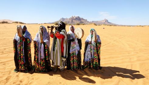 A Tuareg band performs folkloric songs during the festival. Photograph: Esam Omran Al-Fetori/Reuters