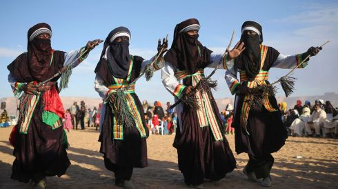 Performing a traditional dance. Photograph: Esam Omran Al-Fetori/Reuters