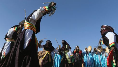 Circling for the traditional dance. Photograph: Esam Omran Al-Fetori/Reuters