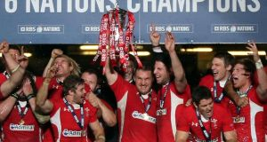 Gethin Jenkins leads the celebrations after Wales retained the Six nations title last March. Photograph:   David Davies/PA