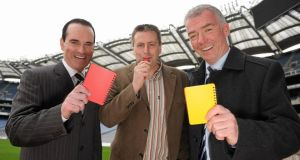 3 March 2010; Referees  David Coldrick, Brian Gavin and chairman of the National Referees Committee Pat McEnaney at Croke Park. Photo: Brendan Moran/Sportsfile