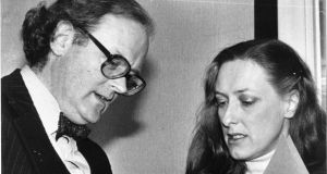 Bruce Arnold and Geraldine Kennedy, the journalists named in the telephone tapping affair, reading Government statements at a press conference in 1983. Photograph: The Irish Times