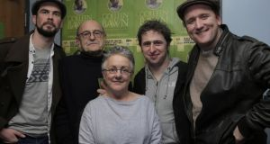Rory Nolan, Tom Murphy, Garry Hynes, Aaron Monaghan and Rory Nolan after the opening of Druid Theatre's The Colleen Bawn in the Black Box Theatre, Galway