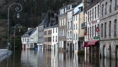 The centre of Quimperle, western France, is flooded by the Laita river.