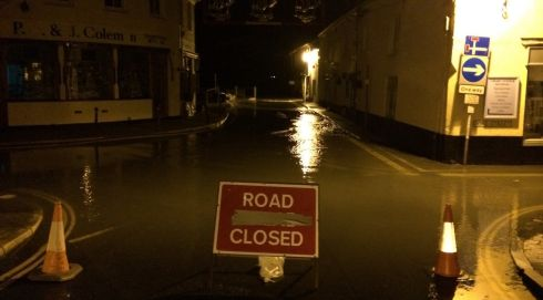 Picture supplied by the RNLI in Salcombe of a road closed sign in Salcombe, Devon.