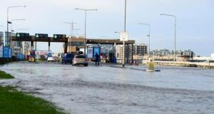 Flooding at the East Link Bridge in Dublin today. Photograph: Aleesha Tully